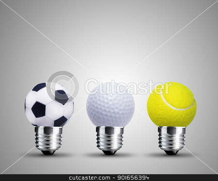 light bulb concept stock photo, light bulb made from sport balls, light bulb conceptual Image. by Designsstock