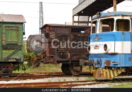 Old railway wagons, rail-motor stock photo, Old railway wooden wagons, vintage rail-motor, cistern by Aleksandar Varbenov
