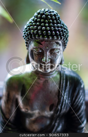 Meditation stock photo, Silver Buddha figure with nature background - face with shallow dof by Frank G?