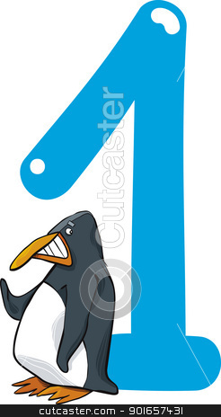 number one and penguin stock vector clipart, cartoon illustration with number one and penguin by Igor Zakowski