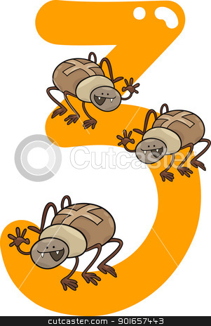 number three and 3 spiders stock vector clipart, cartoon illustration with number three and spiders by Igor Zakowski
