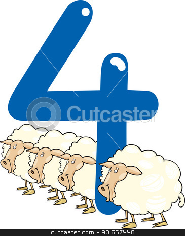 number four and 4 sheeps stock vector clipart, cartoon illustration with number four and sheeps by Igor Zakowski