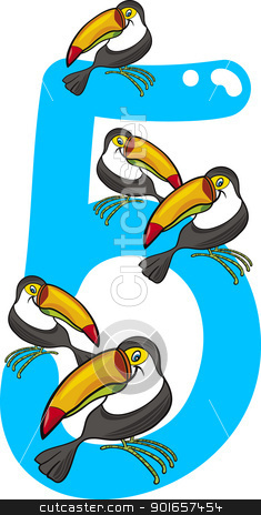 number five and 5 toucans stock vector clipart, cartoon illustration with number five and toucans by Igor Zakowski