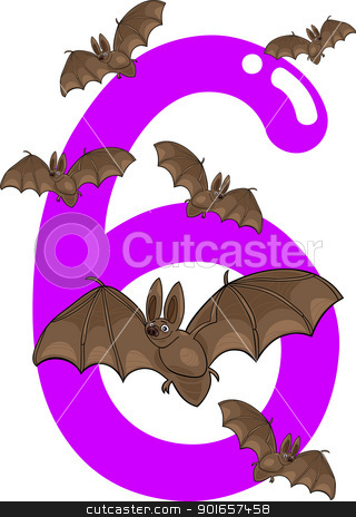number six and 6 bats stock vector clipart, cartoon illustration with number six and bats by Igor Zakowski