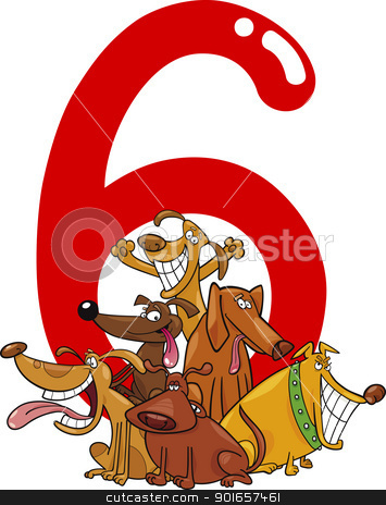 number six and 6 dogs stock vector clipart, cartoon illustration with number six and group of dogs by Igor Zakowski