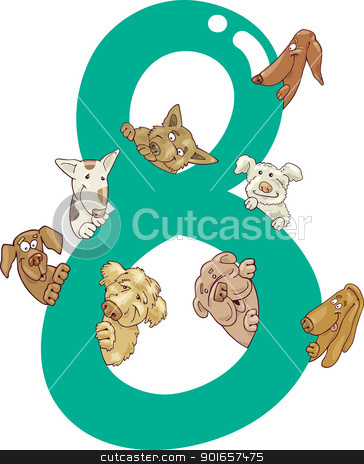 number eight and 8 dogs stock vector clipart, cartoon illustration with number eight and dogs by Igor Zakowski