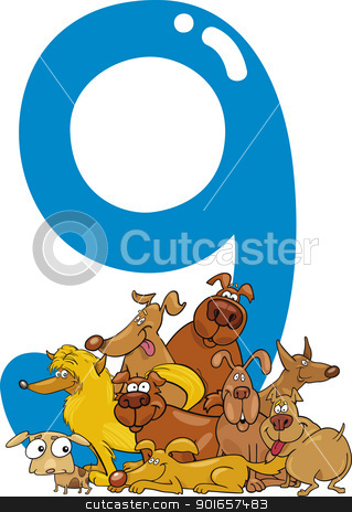 number nine and 9 dogs stock vector clipart, cartoon illustration with number nine and dogs by Igor Zakowski