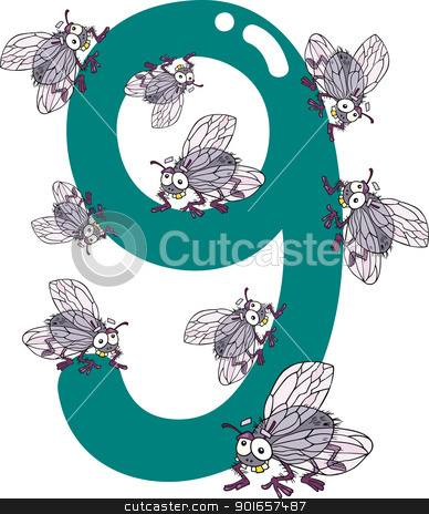 number nine and 9 flies stock vector clipart, cartoon illustration with number nine and flies by Igor Zakowski