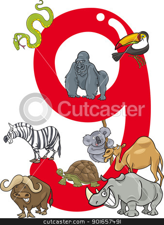 number nine and 9 animals stock vector clipart, cartoon illustration with number nine and different animals by Igor Zakowski