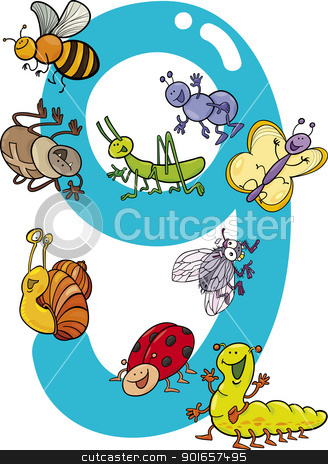 number nine and 9 insects stock vector clipart, cartoon illustration with number nine and different insects by Igor Zakowski