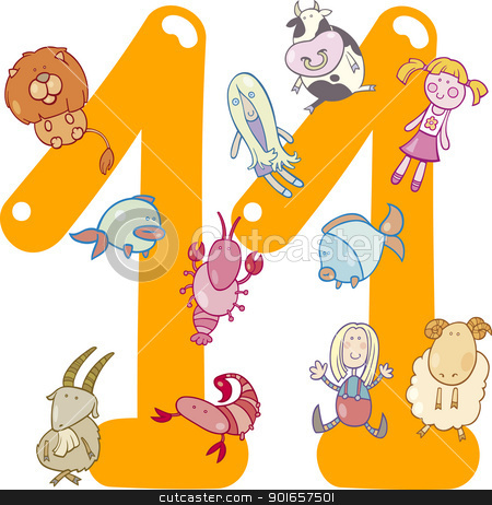 number eleven and 11 toys stock vector clipart, cartoon illustration with number eleven and toys by Igor Zakowski
