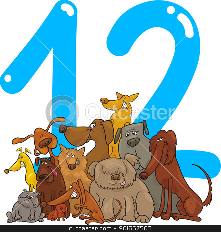 number twelve and 12 dogs stock vector clipart, cartoon illustration with number twelve and dogs by Igor Zakowski