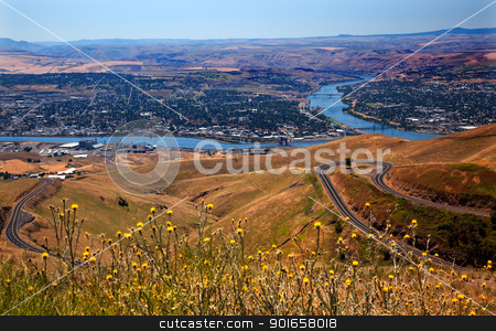 Lewiston Hill Snake River Idaho stock photo, View of Snake River in Lewiston Idaho taken from Lewiston Hill.  Lewiston is named for Meriwether Lewis of Lewis and Clark and is the most inland seaport of any port on the West Coast by William Perry
