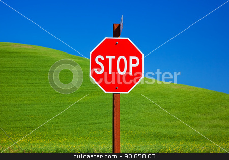 Red Stop Sign Green Wheat Grass Blue Skies Palouse Washington stock photo, Red Stop Sign Green Wheat Grass Fields Blue Skies Abstract Palouse Washington State Pacific Northwest by William Perry