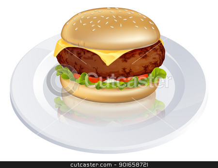 Beefburger or cheeseburger illustration stock vector clipart, Illustration of a tasty looking beefburger or cheeseburger type burger on a plate by Christos Georghiou