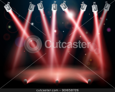 Red spotlights background stock vector clipart, A red spotlight background concept with lots of lights like spotlights in a light show or during a dramatic theatre stage performance  by Christos Georghiou