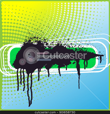 Template with big ink blot stock photo, Template with big ink blot on a dot background by Imaster