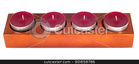 Four candles stock photo, Wooden candleholder or candlestick with four candles isolated on white background by borojoint