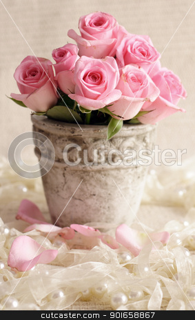 Pink roses in vase. stock photo, Pink roses in vase. by christless