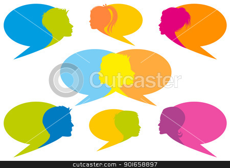 speech bubbles with faces, vector stock vector clipart, speech bubbles with human faces, set of vector design elements by Beata Kraus