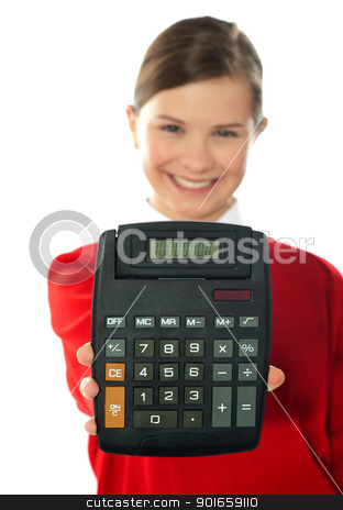 Smiling school girl showing digital calculator stock photo, Smiling girl showing digital calculator to camera by Ishay Botbol   