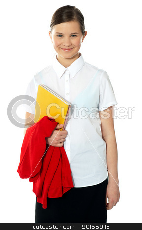Portrait of happy school girl, posing stock photo, Portrait of happy school girl, posing with book in hand and sweater on arm by Ishay Botbol   