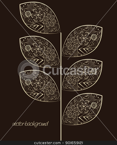 leaf  stock vector clipart, leaf decoration on a brown background by Miroslava Hlavacova