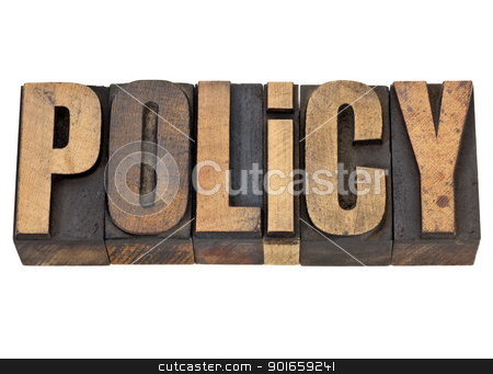 policy word in letterpress type stock photo, policy  - isolated word in vintage letterpress wood type by Marek Uliasz