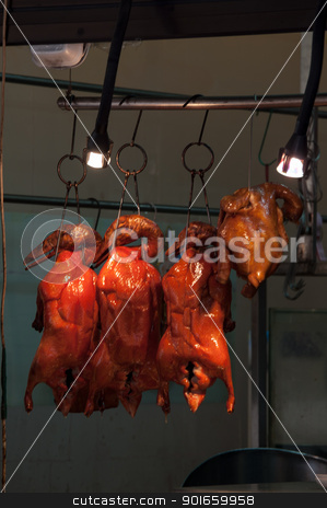 chinese bbq duck and chicken stock photo, chinese bbq duck and chicken hang on a rack in a restaurant by Frank G?