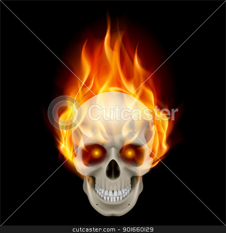 Burning skull stock photo, Burning skull in hot flame. Illustration on black background by dvarg