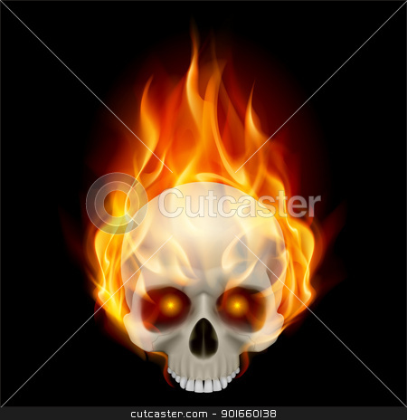 Burning skull stock photo, Burning skull in hot flame. Illustration on black background for design by dvarg
