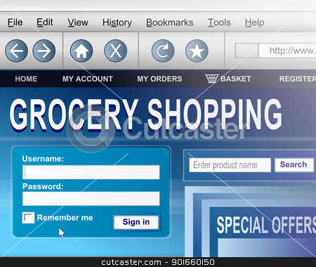 Online grocery shopping. stock photo, Illustration depicting a computer screen shot with an online grocery shopping concept. by Samantha Craddock