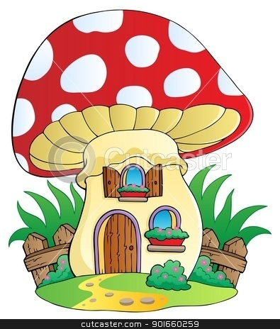 Cartoon mushroom house stock vector clipart, Cartoon mushroom house - vector illustration. by Klara Viskova