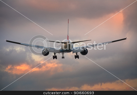 Landing airplane. stock photo, Photo of an airplane just before landing. by christless