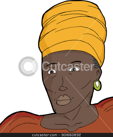 African Muslim Woman stock vector clipart, Muslim woman in traditional African clothing over white background by Eric Basir