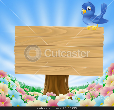 Bluebird sitting on wood sign with flowers stock vector clipart, Cartoon blue bird sitting on a wooden sign board in a flower meadow  by Christos Georghiou