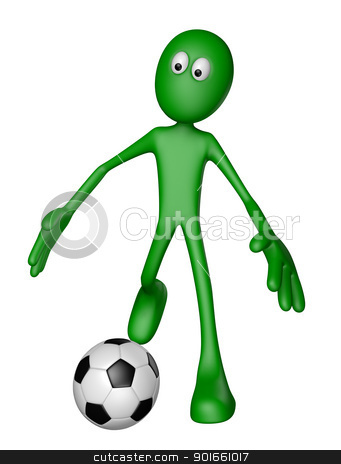 soccer stock photo, green guy with soccer ball - 3d illustration by J?