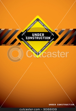 Under construction orange stock vector clipart, Orange background template for a website construction page by Michael Travers
