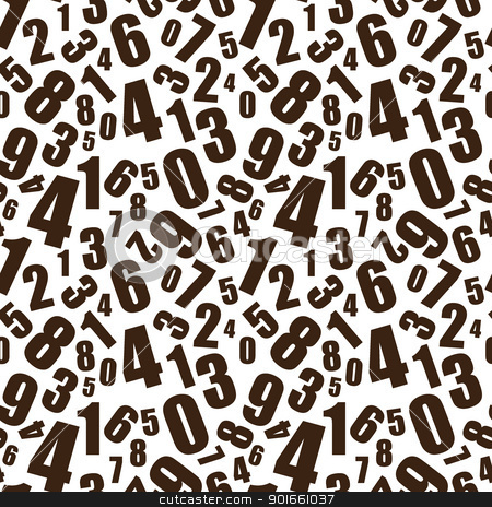 Learning numbers background stock vector clipart, Simple black and white numbers seamless background pattern by Michael Travers