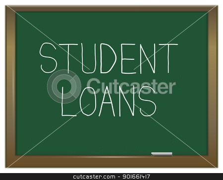 Student loans concept. stock photo, Illustration depicting a green chalkboard with the words 'Student loans'. by Samantha Craddock