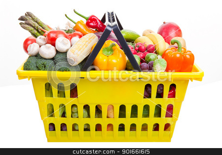 Shopping basket stock photo, A yellow shopping basket full of fruits and vegetables isolated on white. by Scott Little