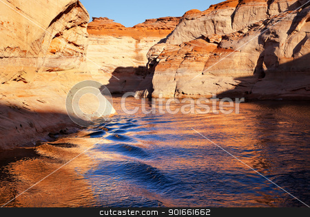 Orange Antelope Canyon Blue Water Reflection Lake Powell Arizona stock photo, Orange Canyon Blue Orange Water Reflection Glen Canyon Recreation Area Lake Powell Antelope Canyon Arizona by William Perry
