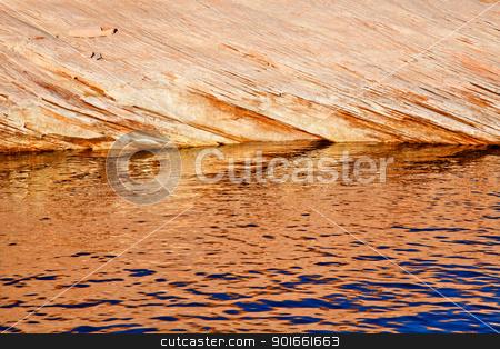 Antelope Slot Canyon Reflection Abstract Lake Powell Arizona stock photo, Orange White Antelope Slot Canyon Water Reflection Abstract Glen Canyon Recreation Area Lake Powell Arizona by William Perry