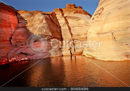 Orange Pink Antelope Canyon Reflection Lake Powell Arizona stock photo, Orange Pink Canyon Bronze Water Reflection Abstract Glen Canyon Recreation Area Lake Powell Antelope Canyon Arizona by William Perry