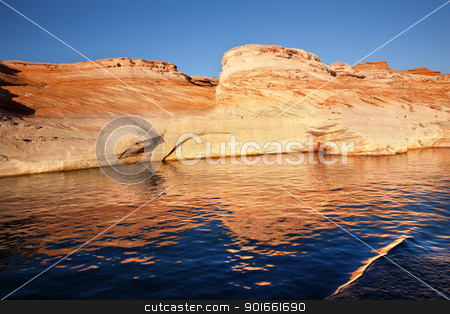 Antelope Canyon Reflection Lake Powell Arizona stock photo, White Canyon Bronze Water Reflection Abstract Glen Canyon Recreation Area Lake Powell Antelope Canyon Arizona by William Perry
