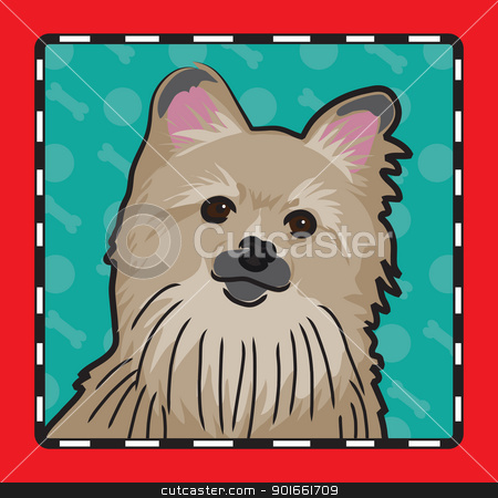 Pomeranian Cartoon stock vector clipart, A cartoon image of an Pomeranian dog, created in the folk art tradition. by Maria Bell