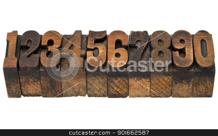 numbers in antique letterpress type stock photo, ten numbers from zero to nine in isolated vintage wood letterpress printing blocks, French Clarendon face popular in western movies and memorabilia by Marek Uliasz