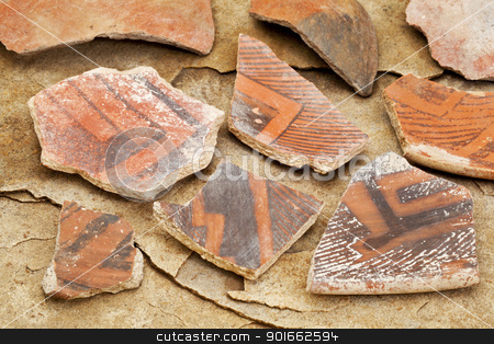 ancient Anasazi pottery shards  stock photo, Arizona Anasazi pottery shards, ancient Native American Indian artifacts, several fragments of a bowl,  on a sandstone background by Marek Uliasz