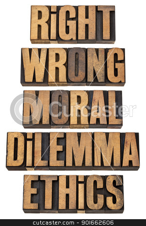 moral dilemma concept stock photo, right, wrong, moral dilemma, ethics - ethical choice concept - a collage of isolated words in vintage letterpress wood type by Marek Uliasz
