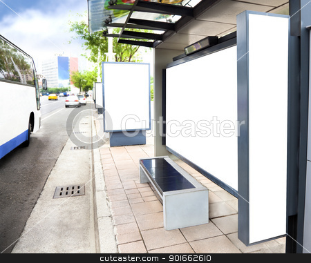 Blank white advertising Sign at Bus station in the city stock photo, Blank white advertising Sign at Bus station in the city by tomwang